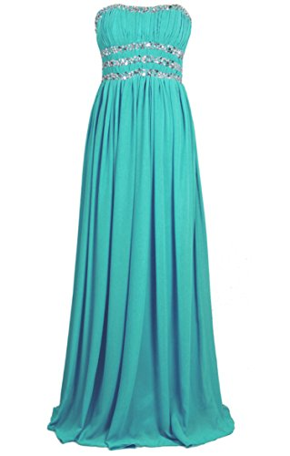 Vantexi Damen Perlen Lange Abschlussball Abendkleid Brautjungfer Kleider Teal Größe 42