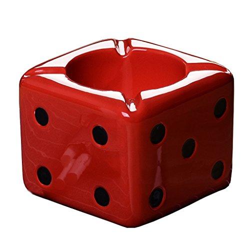 mik Nichtraucher-Spinning Aschenbecher, Home Decor Bar Pool Hall Tragbare Würfel Zigarette Aschenbecher (schwarz + rot + weiß) (Farbe : Rot, Size : A) ()