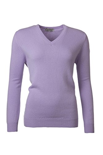 Great and British Knitwear Ladies' 100% Lambswool Plain V Neck Jumper-Lupin-Large