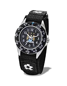 Premiership Footbal Velcro Children's Quartz Watch with Black Dial Analogue Display and Black Fabric and Canvas Strap GA3759