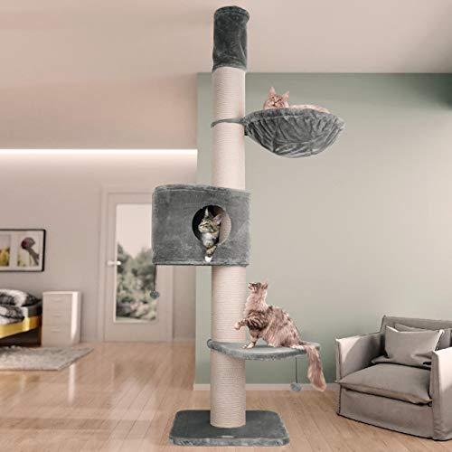 Happypet Premium Kratzbaum, Giant CAVE Tower I, für große schwere Katzen (Main Coon), 8mm Sisal, 17cm Säulen, 45cm Liegemulde, 275cm Deckenhoch GRAU