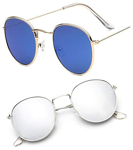 Sheomy Cellulose Acetate and Titanium Alloy Blue Mercury Mirrored Glass Round Oval Unisex Sunglasses (LED-0002, 55, Silver) Combo of 2