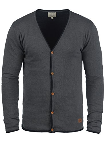 Redefined Rebel Maxen Herren Strickjacke Cardigan Feinstrick Mit V-Ausschnitt und Knopfleiste Aus 100% Baumwolle, Größe:XL, Farbe:Antracit Grey -
