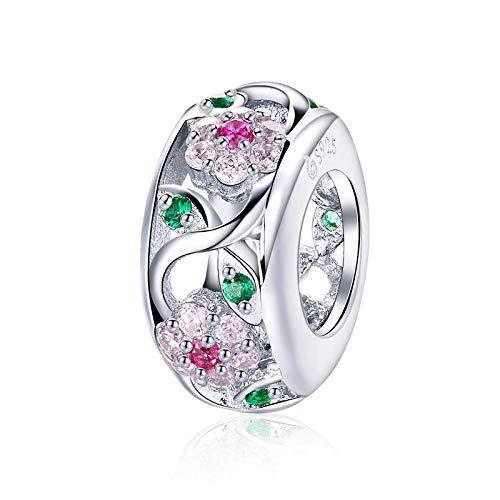 Charm in argento sterling 925, compatibile con braccialetti pandora, ciondoli a forma di primavera, fiori, albero, foglie, distanziatore