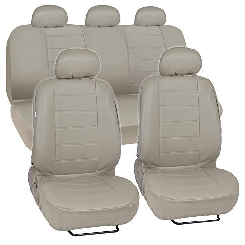 Admirable Beige Synthetic Leather Seat Covers For Car Suv Complete Set Premium Leatherette Side Airbag Compatible By Bdk Dailytribune Chair Design For Home Dailytribuneorg