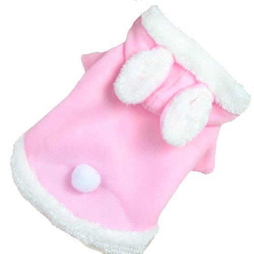 KINGDUO Weihnachten Haustier Kleidung Mode Niedlich Kaninchen Plüsch Hund Bekleidung Pet Hoodie Kostüm Winter Kleidung-Rosa XS