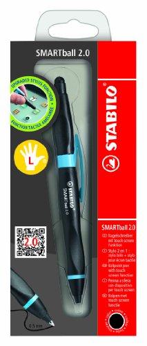 Stabilo SMARTball 2.0 Kugelschreiber mit Stylus, für Linkshänder, schwarze Tinte, Schwarz / Cyan