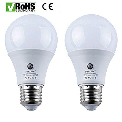 2er Pack E27Filter Trafo 7Watt 630Lumens für LED Sensor Leuchtmittel Licht Lampe für Veranda Flur Terrasse Garage-eingebautem Photosensor Erkennung Automatische Schalter Energy Saver Licht (4000K) (Nacht Filter Ersatz)