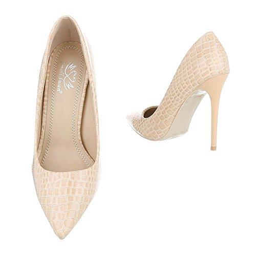 Ital-Design , chaussures compensées femme Beige 5015-53