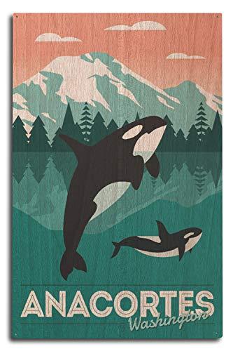 Washington-antik-karte (Lantern Press Anacortes Washington, Orca Whale - Go Freestyle 10 x 15 Wood Sign Multi)