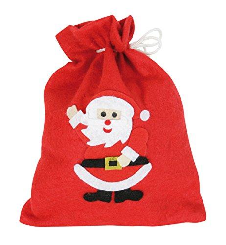narrenwelt Nikolausbeutel Nikolaus-Beutel Nikolaus-Säckchen rot Filz ca. 26 cm mit Motiv Weihnachtsmann-Set Santa Claus
