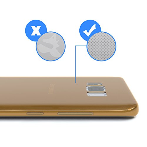 "EAZY CASE Handyhülle für Samsung Galaxy S8 Plus Hülle - Premium Handy Schutzhülle Slimcover ""Brushed"" Aluminium Design - TPU Silikon Backcover in brushed Lila Gold - Clear"