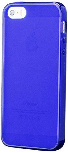 iCues Apple iPhone SE / 5S / 5    TPU Matt Case Orange   [Display Schutzfolie Inklusive] Transparent Klarsichthülle Durchsichtig Klare Klarsicht Silikon Gel Schutzhülle Hülle Cover Schutz Blau