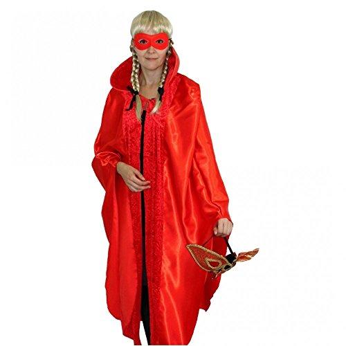 Muster Karneval Kostüm Venedig - Krause & Sohn Umhang Kostüm Maskenball Venedig Fasching Karneval Cape Mantel Einhgr. (Rot)