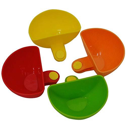Tragbares Gerät Dip Clip Schüssel Halter Verschiedene Salat Sauce Ketchup Marmelade Tasse Untertasse Küche Geschirr Werkzeuge 4 stücke (grün, gelb, rot, orange) Geeignet für studentische Büroangestell Salat-chip
