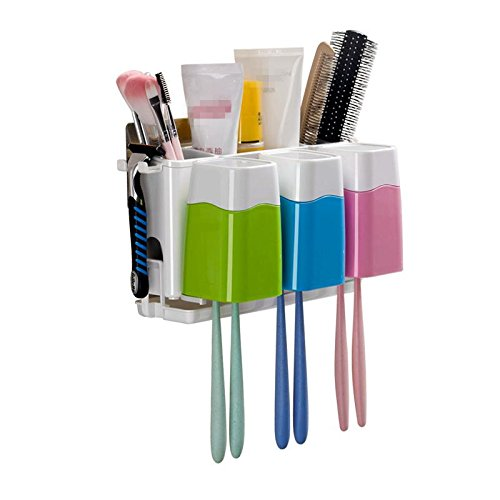 YASHUAJIA 6 Racks staubdicht Wand-Zahnbürstenhalter mit Regal und Mundwasser-Tasse - für den Bad Familien-Halter, für Erwachsene und Kinder (Produkt Höhe: 14cm)