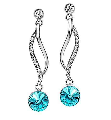 Pendientes océano deslumbrante azul del descenso con oro de 18 quilates chapado en cristal swarovski regalo de calidad para las mujeres