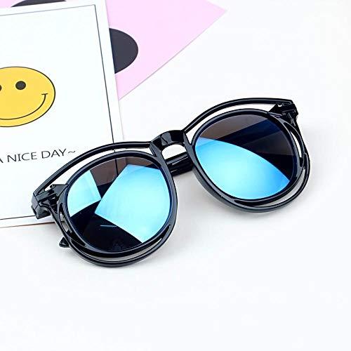 Koreanische Version der niedlichen Kinder Sonnenbrille Männer und Frauen Baby Sonnenbrille Mickey runden Ohren Kinder Sonnenbrille Fruchtpulver Champagner Füße, schwarzen Rahmen eisblauen Tabletten