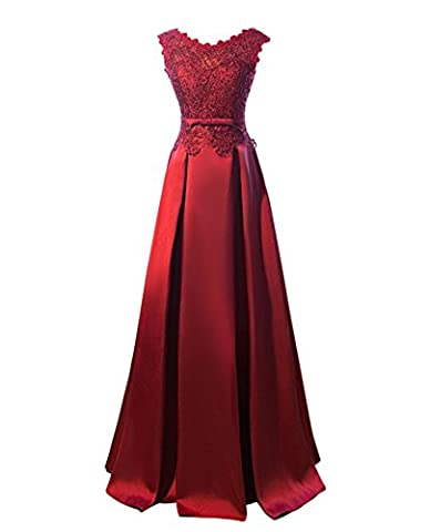 Drasawee Women Elegant Lace Beaded Prom Party Wedding Dress Sexy