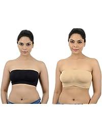 Ishita Fashions Tube Bra Seamless Strapless Bandeau Top (Black, Skin) - 2 PCs Combo