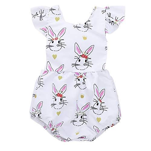 Anywow Baby Mädchen Kaninchen Bodys Einteiler Flatterärmel Bunny Garland Cross Straps Strampler Bodysuit - Kaninchen Themen Kostüm