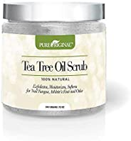 Pure Original Exfoliating And Moisturising Tea Tree Oil Body And Foot Scrub Contains Epsom Salt For Callus Fee