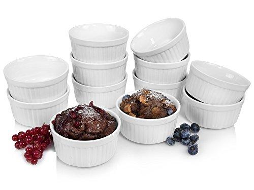 Große Souffle (Sänger Soufflé Souffle Förmchen 12er Set | Durchmesser 10 cm | Perfekt geeignet für Muffins, Cupcakes, Creme Brûlée oder als Dipschalen Ofenbeständig bis 250°C -Porzellan-)