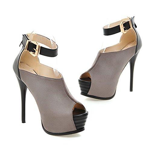 AIYOUMEI Damen Peep Toe High Heels Plateau Pumps mit Knöchelriemchen Extrem High Heels Stiletto Abendschuhe Grau