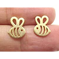 Selia Origami Bienen Ohrring Bee Ohrstecker gold handgemacht Modeschmuck Schmuck, minimalistisch, geschenk