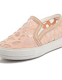 ZQ gyht Zapatos de mujer-Tacón Plano-Punta Redonda-Mocasines-Casual-Encaje-Negro / Rosa / Blanco , pink-us11 /...