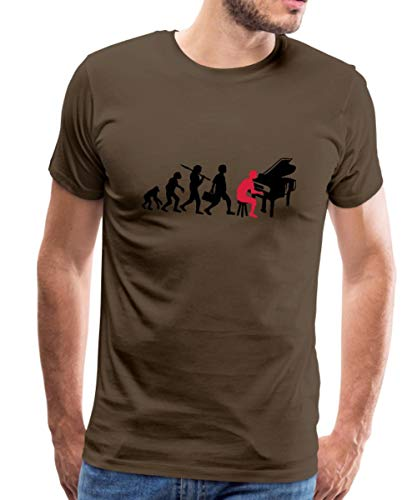 Spreadshirt Piano Musik Evolution Männer Premium T-Shirt, L, Edelbraun -