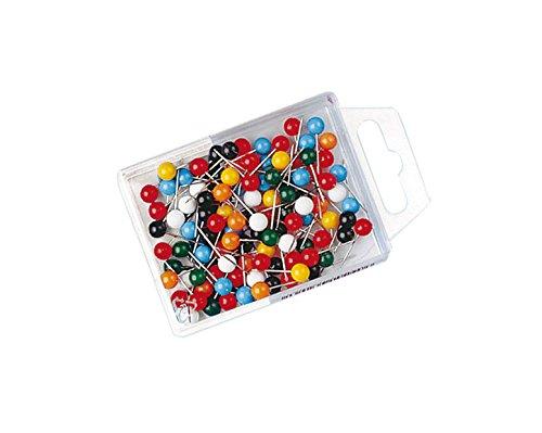 Preisvergleich Produktbild Wedo 56199 Markierungsnadeln (Rundkopfnadeln, Nadellänge 16 mm, Kopfdurchmesser 6 mm) 100 Stück, farbig sortiert