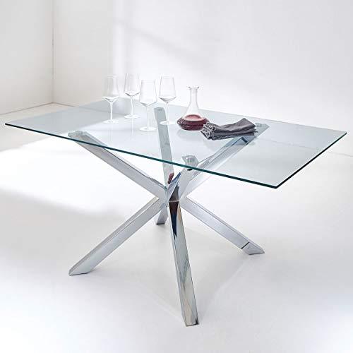 Esszimmertisch Florenz Esstisch Wohnzimmertisch Edelstahl X-Gestell Modern Design Glas-Tisch