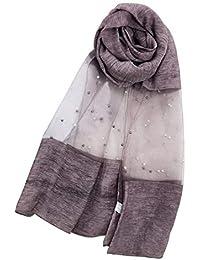 5c5c2326e593 Leisial Écharpe pour Femmes Organza Couleur Unie Couture avec Perles  Transparent Longue Foulard Serviette de Plage Écharpe Voyage…
