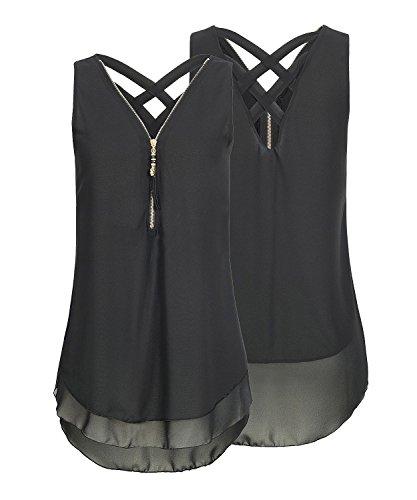DEMO SHOW Damen Chiffon Bluse ärmellos V Ausschnitt Reißverschluss Vorne zurück aushöhlen Shirt Tank Tops T Shirt (Schwarz, L)