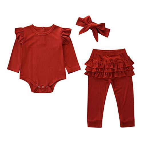 LEXUPE Neugeborene Kinder Baby Mädchen Outfits Kleidung Strampler Bodysuit + Streifen Lange Hosen Set(Rot,80)