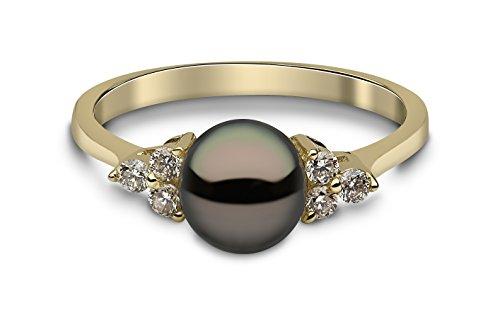 Kimura Pearls Armband Gelbgold 9ct Schwarz Süßwasserperle und Diamant Ring–Größe N - 9 Diamant-ring-größe