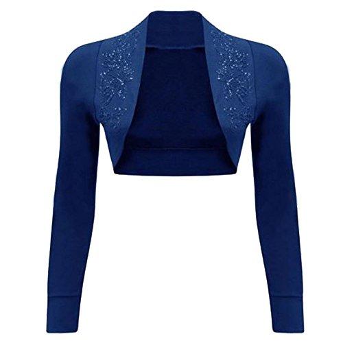 Copri spalle a maniche lunghe da donna, con paillette blu navy