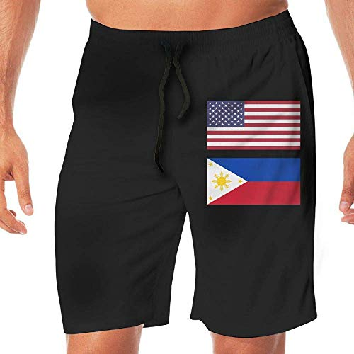 Generic Men's Bathing Suit United States Flag & Philippines Flag Quick Dry Beach Boardshort Pocket,XXL -