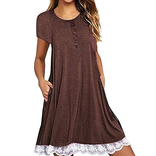 MAYOGO Kleid Damen Sommer Kurzarm Blumenmuster Minikleid mit Spitzen Hem,Casual Festliche Kleider mit ()
