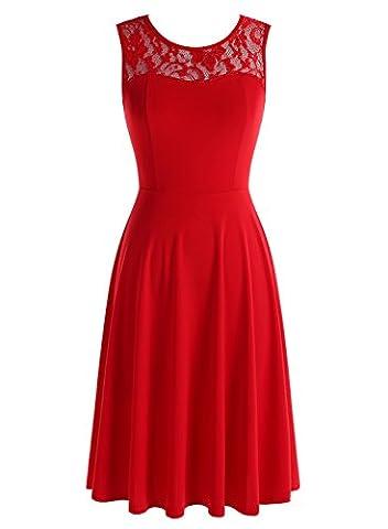 Dressystar DS0004 Robe femme soirée/bal de vintage avec dentelle sans