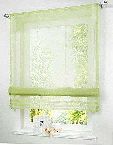 Generic RU mit Solid Color Sheer Voile Vorhang Römische Jalousie für Küche Balkon Rod-Packet, 1Stück, grün, schwarz, grün, W100cm x H155cm -