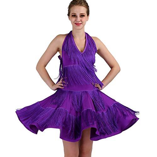 Rongg Quaste Lateinischer Tanz Trainingsröcke Performance Kostüm V-Ausschnitt Halter Frauen lateinisches Tanz-Kleid, - Zeitgenössische Kostüm Unitard