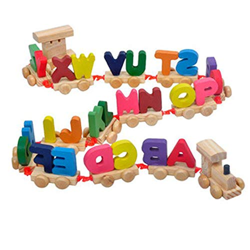 Crazy Crafts Wooden Alphabet Letters Train (A-Z) English Vocabulary Building Train Set Early Educational Toys Kids 2+ Years for Boys & Girls