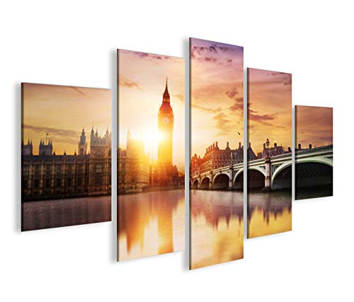 islandburner Bild Bilder auf Leinwand London V5 Big Ben Tower Bridge MF XXL Poster Leinwandbild Wandbild Dekoartikel Wohnzimmer Marke