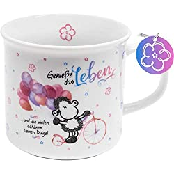Sheepworld 46204 Tee-Tasse Genieße das Leben, Porzellan, 40 cl, Geschenk Freunde