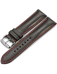 iStrap 18mm de auténtica piel de vacuno correas de reloj banda hebilla de acero primavera barra de repuesto cierre Super suave negro 18