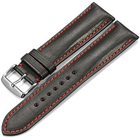 iStrap 18mm Vera Pelle di vitello Cinturini fascia fibbia di chiusura a molla in acciaio super soft nero 18
