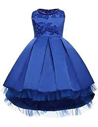 a3c92d3db82 SXSHUN-Vestido de Tul Asimétrico con Bordado de Flores para Niñas Vestido  con Encaje de