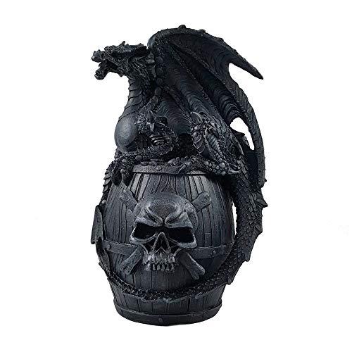A.G.S. Drachen Spardose Schädel Totenkopf Dragon Gothic Halloween Dekoration Piraten